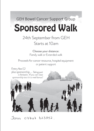 Bowel Cancer Sponsored Walk 24 Sept 17