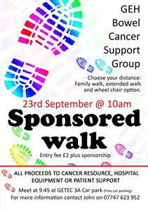 Bowel Cancer Group Sponsored Walk poster